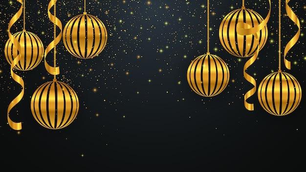Fundo de natal com decorações de natal douradas. plano de fundo de ano novo.
