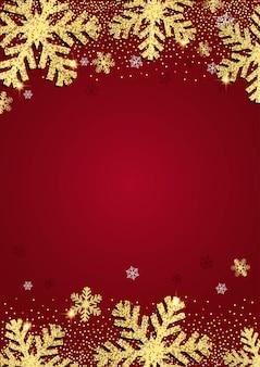 Fundo de natal com desenho de floco de neve dourado brilhante