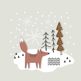 Fundo de natal com desenho de raposa e árvore