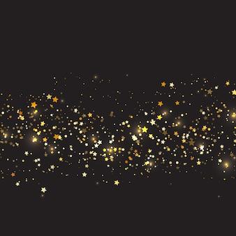 Fundo de natal com design de estrelas de ouro