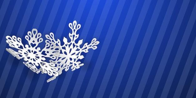 Fundo de natal com dois flocos de neve de papel curvos com sombras suaves sobre fundo azul listrado