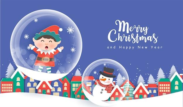 Fundo de natal com elfo, boneco de neve e a aldeia de neve e espaço ou texto. Vetor Premium