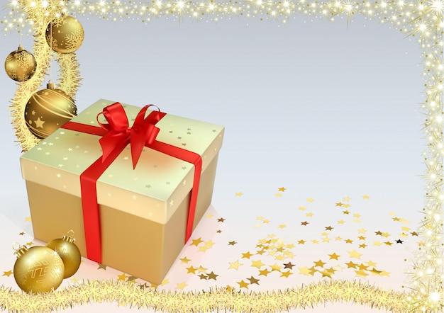 Fundo de natal com enfeites de ouro