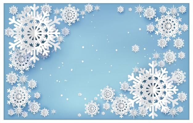 Fundo de natal com estilo de corte de papel de floco de neve.