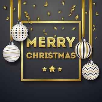 Fundo de natal com fitas douradas brilhantes e bolas ornamentadas coloridas