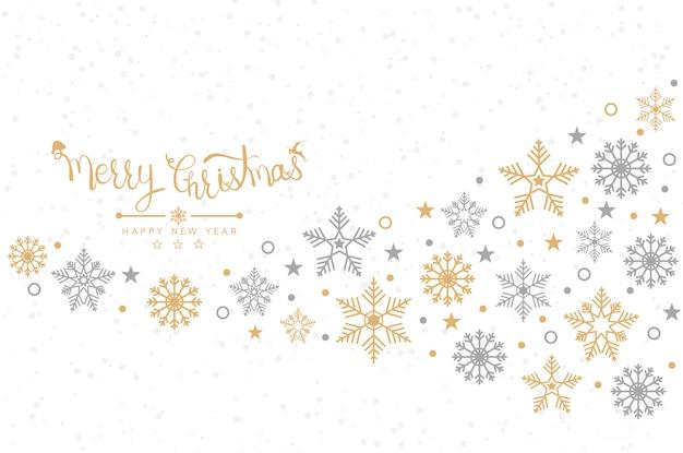 Fundo de natal com flocos de neve, banner, cartão
