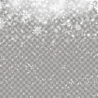 Fundo de natal com flocos de neve caindo. vetor