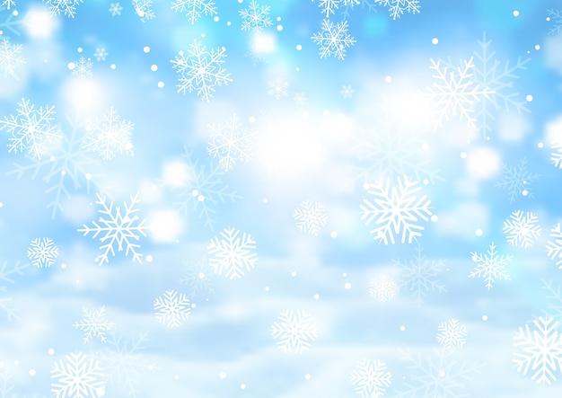 Fundo de natal com flocos de neve caindo