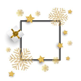 Fundo de natal com flocos de neve de glitter, presente e estrelas