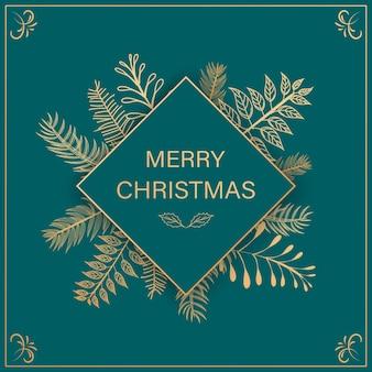 Fundo de natal com flocos de neve de ouro brilhante. ilustração do cartão de feliz natal da rotulação.