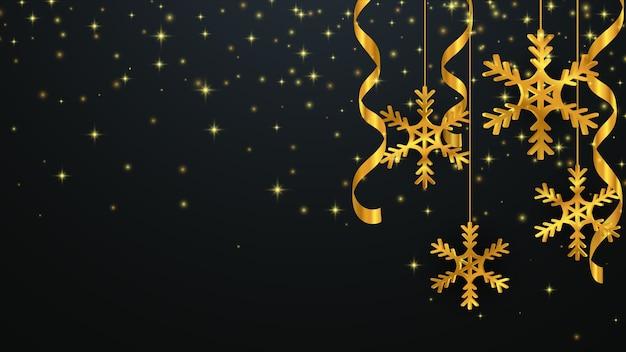 Fundo de natal com flocos de neve de ouro. plano de fundo de ano novo.