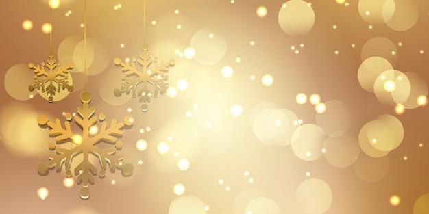 Fundo de natal com flocos de neve dourados e luzes bokeh