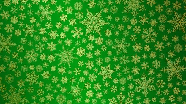 Fundo de natal com flocos de neve grandes e pequenos em cores verdes