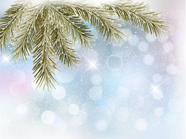 Fundo de natal com galhos de árvores e flocos de neve