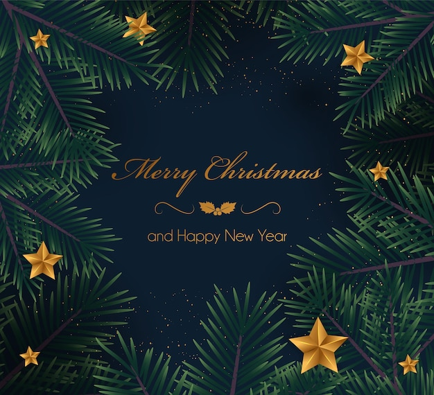 Fundo de natal com galhos de pinheiro e estrelas. ilustração vetorial