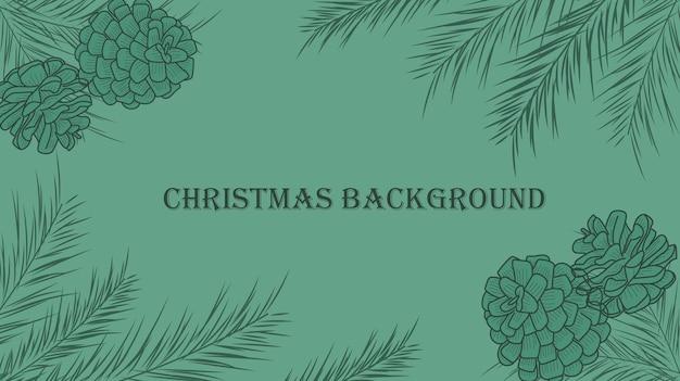 Fundo de natal com galhos de pinheiro e pinhas