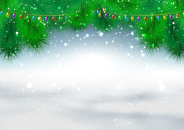 Fundo de natal com galhos de pinheiros e flocos de neve