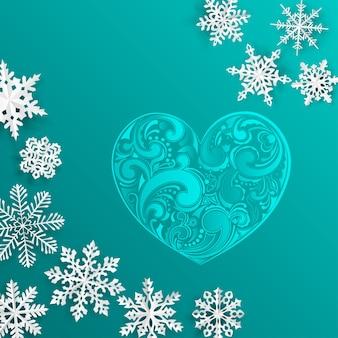 Fundo de natal com grande coração e flocos de neve em fundo turquesa