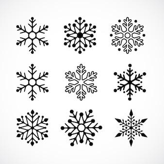 Fundo de natal com ícones de flocos de neve