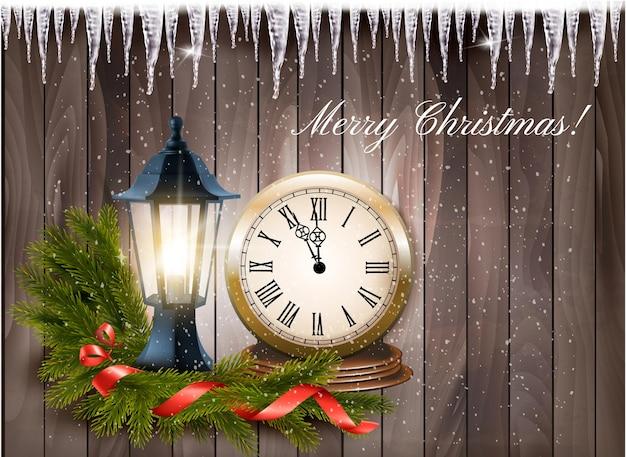 Fundo de natal com lanterna, relógio e fita de presente