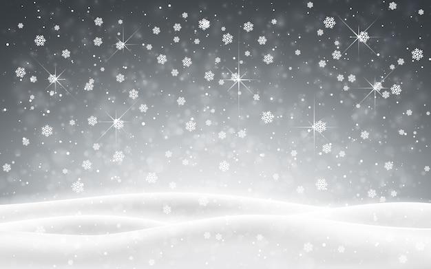 Fundo de natal com neve caindo