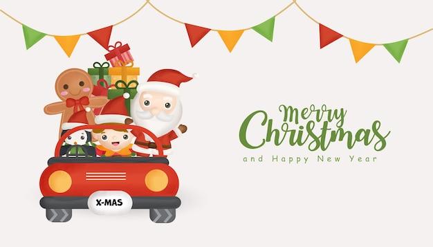 Fundo de natal com o lindo papai noel e amigos em um carro vermelho.