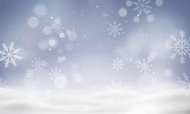 Fundo de natal com paisagem de inverno desfocada