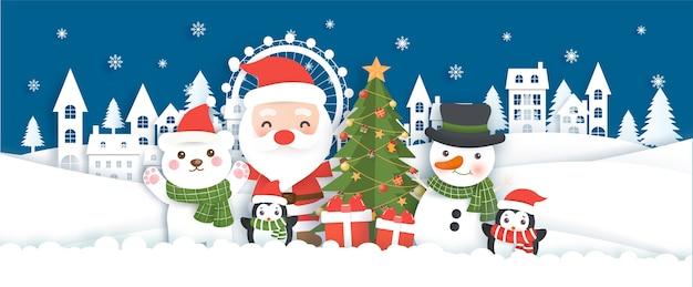 Fundo de natal com papai noel e amigos na aldeia de neve em estilo de corte de papel.