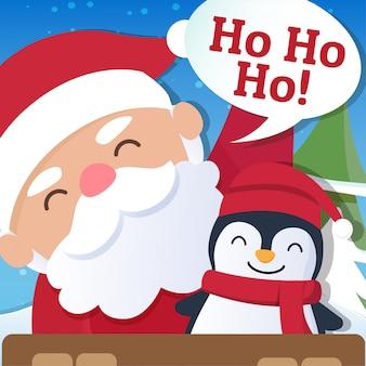 Fundo de natal com papai noel e feliz natal