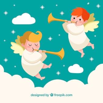 Fundo de natal com pequenos anjos fofos tocando as flautas
