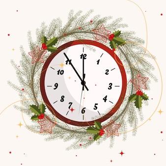 Fundo de natal com relógio de celebração de ano novo de ano novo
