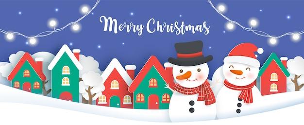 Fundo de natal com um boneco de neve no corte de papel de aldeia de neve e estilo artesanal.