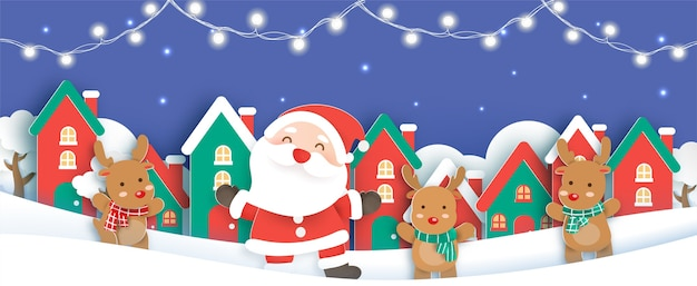 Fundo de natal com um papai noel e amigos no estilo de corte e artesanato de papel de vila de neve.
