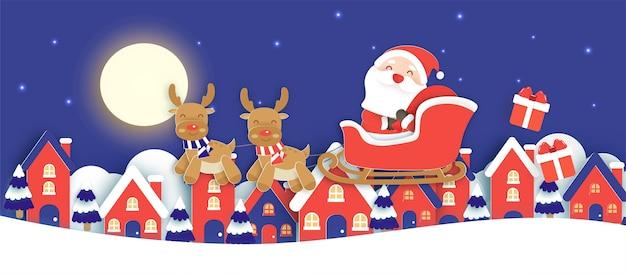 Fundo de natal com um papai noel e renas no corte de papel e estilo artesanal de vila de neve.
