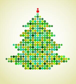Fundo de natal com uma árvore de natal de pixel colorido. ilustração