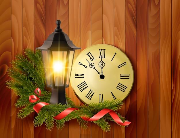 Fundo de natal com uma lanterna e um relógio.