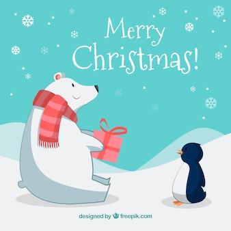 Fundo de natal com urso polar e pinguim
