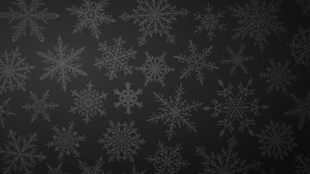 Fundo de natal com vários flocos de neve grandes e pequenos complexos em cores pretas