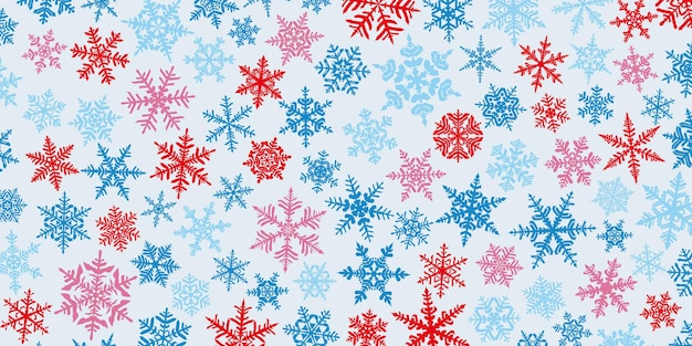 Fundo de natal com vários flocos de neve grandes e pequenos complexos, vermelho e azul em branco