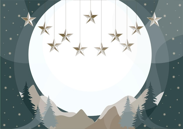 Fundo de natal de ano novo com estrelas da floresta de coníferas e paisagem montanhosa
