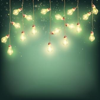 Fundo de natal de ano novo de lâmpadas incandescentes.
