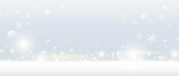 Fundo de natal de floco de neve e neve caindo com luzes de bokeh