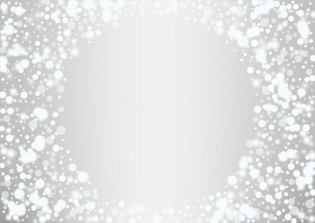 Fundo de natal de flocos de neve branca brilhante