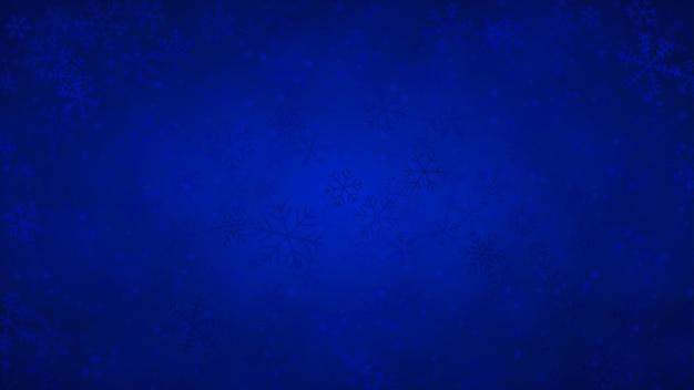 Fundo de natal de flocos de neve de diferentes formas, tamanhos e transparências em cores azuis