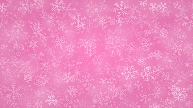 Fundo de natal de flocos de neve de diferentes formas, tamanhos e transparências em cores rosa