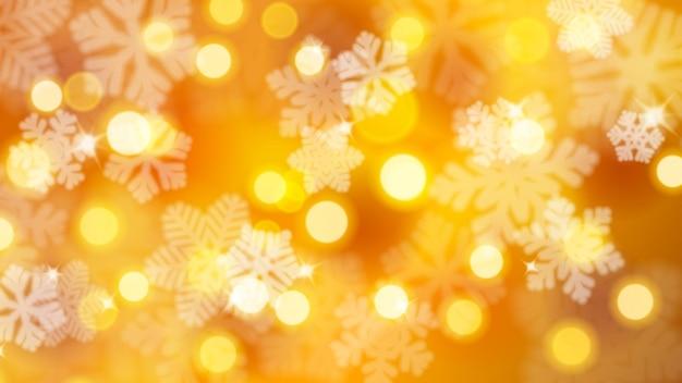Fundo de natal de flocos de neve desfocados com reflexos e efeito bokeh, em cores douradas