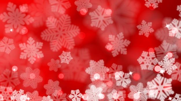 Fundo de natal de flocos de neve desfocados com reflexos e efeito bokeh, em cores vermelhas