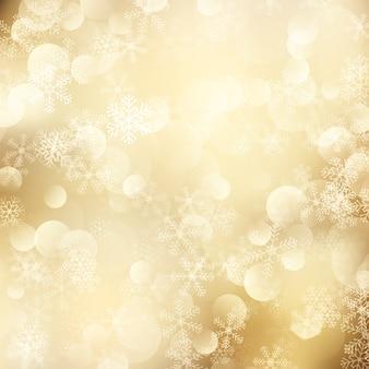 Fundo de natal de flocos de neve dourados