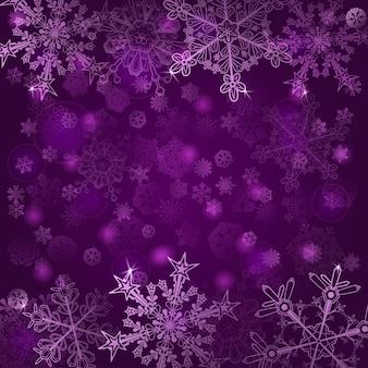 Fundo de natal de flocos de neve, em cores violetas