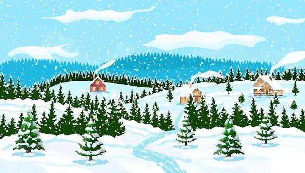 Fundo de natal de inverno com árvores e casas